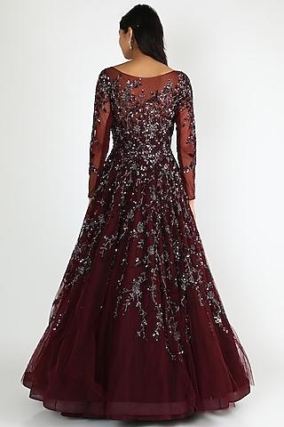 Burgundy Embroidered Gown by Shlok Design