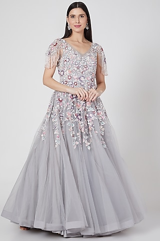 Grey Sequins Embroidered Gown by Shlok Design