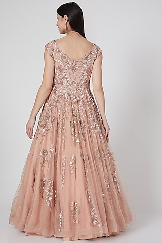 Blush Pink Embroidered Gown by Shlok Design