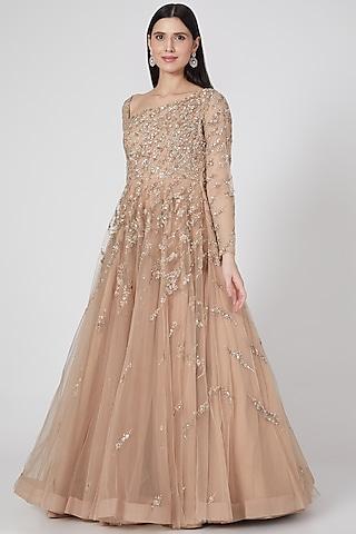 Beige Gold One Shoulder Gown by Shlok Design