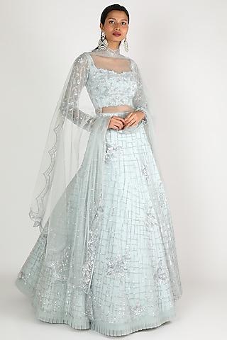 Powder Blue Embroidered Lehenga Set by Shlok Design