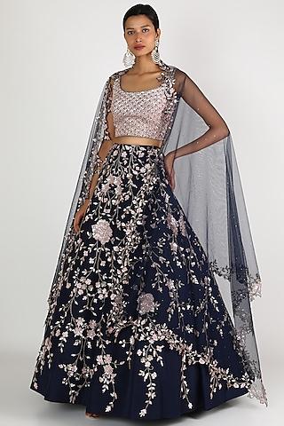 Midnight Blue & Pink Embroidered Lehenga Set by Shlok Design