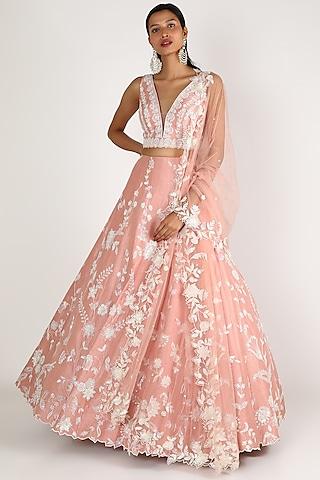 Pink Embroidered Lehenga Set by Shlok Design