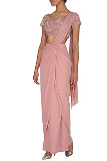 Pink Embroidered Draped Saree Set by Sheena Singh