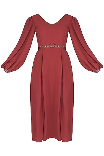Red Embroidered Dress by Sheena Singh