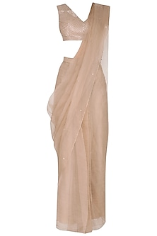 Beige Embroidered Saree Set by Sheena Singh
