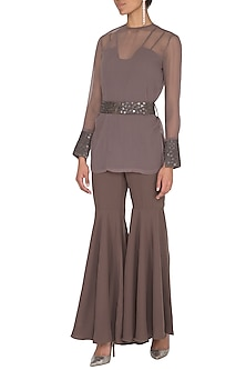 Brown Bodysuit With Embroidered Jacket & Belt by Sheena Singh
