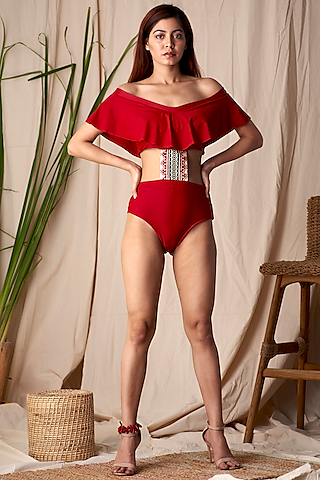 Red Off-Shoulder Embroidered Swimsuit by Shivika Agarwal