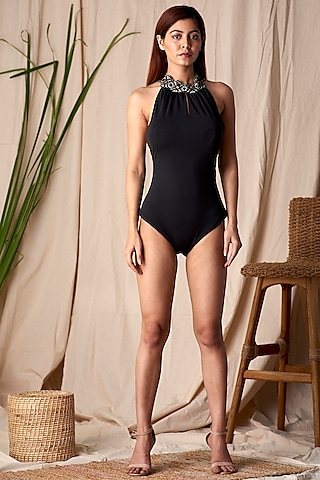 Black Embroidered Swimsuit With Cross Back Straps by Shivika Agarwal