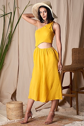 Yellow One Shoulder Jumpsuit by Shivika Agarwal
