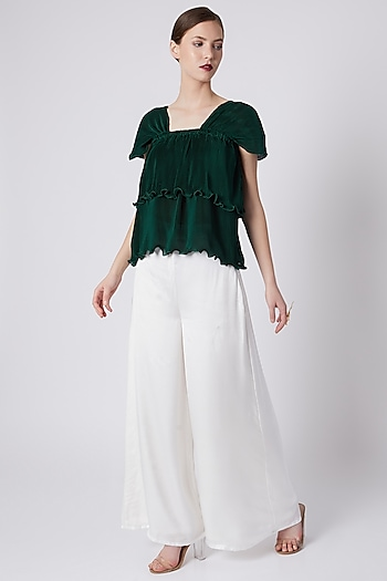 Emerald Green Pleated Top by Shivangi Jain