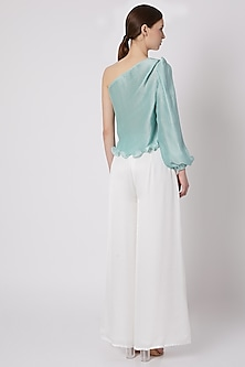 Turquoise One Shoulder Top by Shivangi Jain