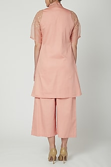 Peach Bow-Tie Kurta With Wideleg Pants by Shiori