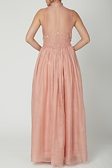 Peach Sleeveless Gown With Buttons by Shiori
