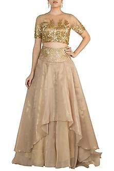 Golden Embroidered Lehenga Skirt With Blouse by Shivangi Jain