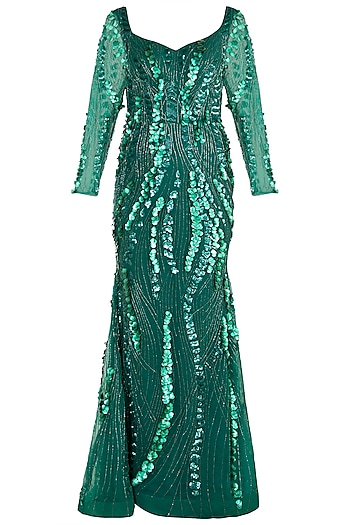 Emerald Green Hand Embroidered Gown by Shivangi Jain