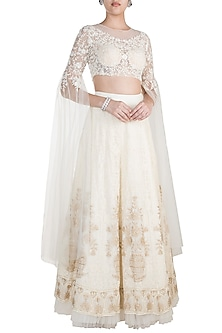 Off White Chikankari Embroidered Lehenga Set by Shivangi Jain