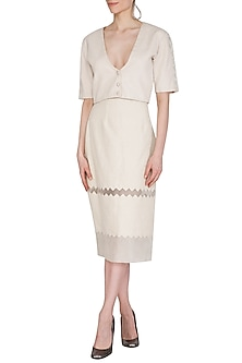Ivory Chevron Printed Skirt by Shiori