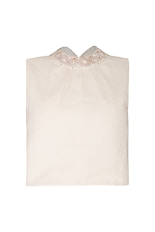 Ivory Embroidered & Printed Crop Top by Shiori