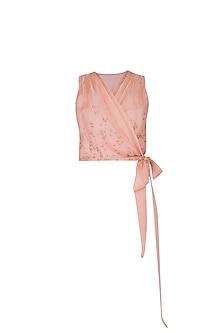 Peach Embroidered Drape Crop Top by Shiori