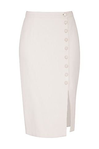 Ivory Button Down Pencil Skirt by Shiori