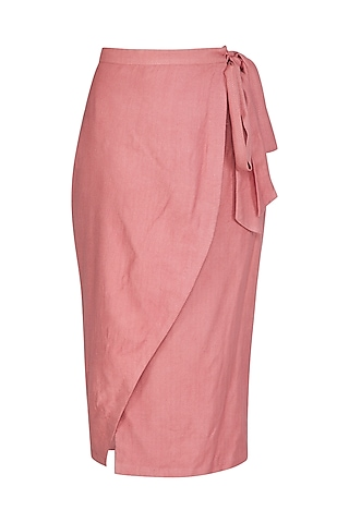 Coral Textured Wrap Skirt by Shiori