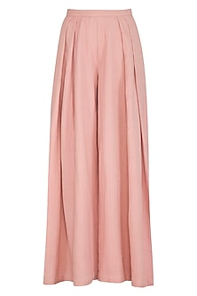 Peach Pleated Wide Leg Pants by Shiori