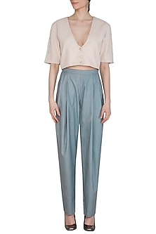 Powder Blue Pleated Trouser Pants by Shiori