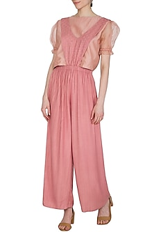 Coral Embroidered Textured Jumpsuit by Shiori