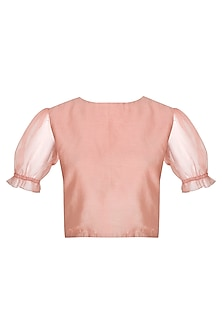 Peach Chanderi Crop Top by Shiori