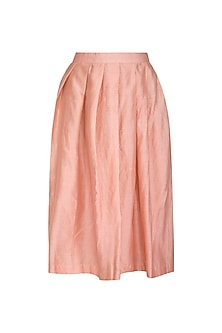 Peach Pleated Skirt by Shiori