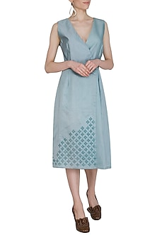 Powder Blue Embroidered Wrap Dress by Shiori