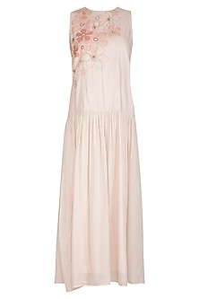 Ivory Embroidered Maxi Dress by Shiori