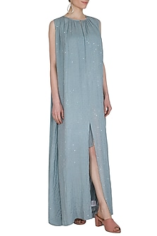 Powder Blue Shimmery Dress With Inner by Shiori