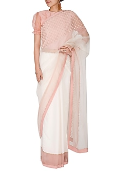 Ivory & Peach Embroidered Saree Set by Shiori