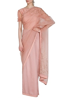 Dusty Peach Embroidered Saree Set by Shiori