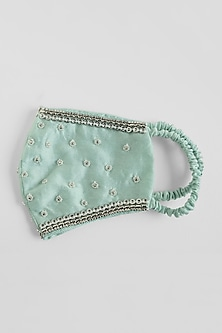 Sage Green Hand Embroidered Reusable Mask by Shivangi Jain