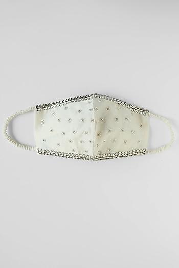 White Stone Embroidered Reusable Mask by Shivangi Jain