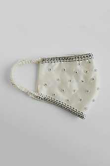 White Stone Embroidered Reusable Mask by Shivangi Jain