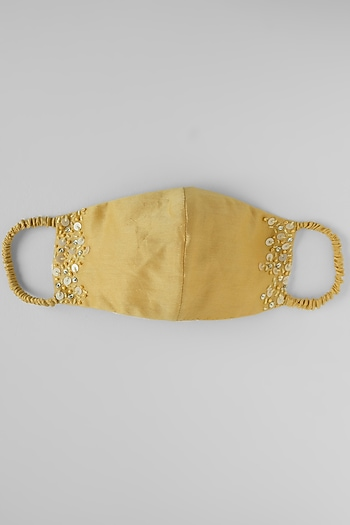 Yellow Appliques Embroidered Reusable Mask by Shivangi Jain