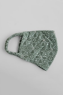 Sage Green Embroidered Reusable Mask by Shivangi Jain