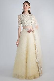 White Embellished Ombre Ruffled Lehenga Set by Shivangi Jain