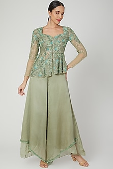 Sage Green Embroidered Peplum Top With Pants by Shivangi Jain