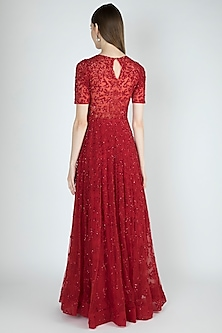 Red Hand Embroidered Gown by Shivangi Jain