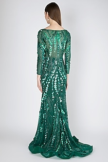 Green Hand Embroidered Gown by Shivangi Jain