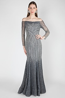 Grey Shaded Embellished Off-Shoulder Gown by Shivangi Jain