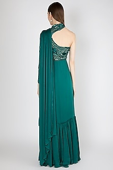 Green Embellished One Shoulder Gown by Shivangi Jain