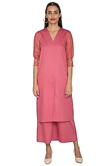 Coral Embroidered Straight Fit Tunic With Pants by Shiori