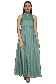 Teal Embroidered Gown by Shiori