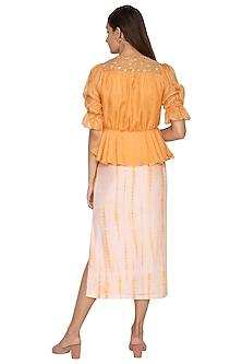 Yellow Embroidered Pleated Wrap Top by Shiori